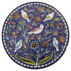 Ian Snow Blue Palestinian Birdy Plate: Amazon.co.uk: Kitchen & Home