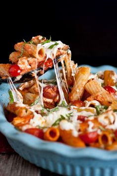 Grilled Chicken Caprese Pasta with Garlic, Romano, Mozzarella and Fresh Basil