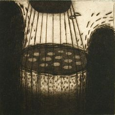Akiko Taniguchi. Between Nights, 2001. Drypoint, mezzotint, chine colle. Edition of 30. 4-1/42 x 4-1/42 inches.