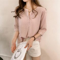 Fashion Women Summer Stripe Long Sleeve Shirt OL Ladies Loose Button Casual Blouse Tops Plus Size Women Clothes Pink / XL - Women Long Sleeve Shirts - Ideas of Women Long Sleeve Shirts Striped Long Sleeve Shirt, Long Sleeve Shirts, Striped Shirts, Formal Blouses, Summer Stripes, Plus Size Womens Clothing, Women's Summer Fashion, Casual Shirts, Ladies Casual Tops