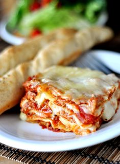 Mel's Kitchen Cafe | Classic Italian Lasagna (no ricotta--white sauce + pureed red sauce instead.)