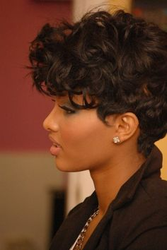 Short curly weave hairstyles for black women Curly Pixie Cuts, Short Curly Haircuts, Short Hair Cuts, Curly Short, Short Curls, Curly Mohawk, Big Curls, Curls Hair, Deep Curly