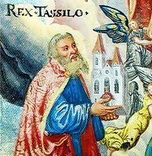 Tassilo III. ( um 741 - 796) – war der letzte baierische Herzog aus dem Geschlecht der Agilolfinger, ein Vetter Karls des Großen und ein Heiliger der katholischen Kirche. Zum Zeitpunkt seiner Abdankung in 788 durch Karl den Großen, gab es nachweisbar 50 Klöster in Bayern.