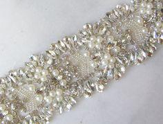 """Crystal Rhinestone Trim with Pearls, Beaded Rhinestone Bridal Applique for Wedding Gown or Sash, 24"""" on Etsy, $125.00"""
