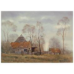 Farm house with trees - Boerderij met bomen Watercolor on Arches 140 lb rough, 26,5x36,5 cm. Location: near Ubbena, Drenthe, the Netherlands 260716  € 550