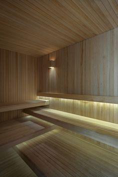 Wooden sauna accompanied by elegant lighting choices - Villalagos Chakra 11 House in Uruguay by Kallos Turin Sauna Steam Room, Sauna Room, Saunas, Bathroom Spa, Modern Bathroom, Bathroom Ideas, Bathroom Plants, Sauna Lights, Sauna Hammam