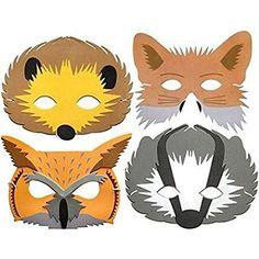 Blue Frog Toys 4 Foam Childrens Woodland Animal Masks - Hedgehog, Badger, Fox & Owl - Made British Wildlife, Animal Masks, Period Costumes, Party Bags, Woodland Animals, Badger, Hedgehog, Pikachu, Fox