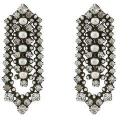 DANNIJO AUGUSTINE Earrings Earring ($420) ❤ liked on Polyvore featuring jewelry, earrings, grey, swarovski crystal earrings, swarovski crystal jewelry, dannijo earrings, oxidized jewelry and post earrings