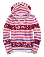 Striped Sequin Hooded Sweater
