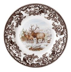 Spode Woodland American Wildlife Elk Dinner Plate by Spode. Save 30 Off!. $31.50. Safe for everyday dishwasher and microwave use. 10-inch dinner plate depicts choice of wildlife. Full-color image of North American animal shown in natural setting. Made of high-quality earthenware in the English tradition. Historic Spode British Flowers border in brown. Amazon.com                Spode's Woodland American Wildlife series brings nature to the table on high-quality earthenware. Each piece…