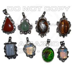 Sterling Silver Certified Handmade Best Quality Silver wholesale pendant clearance lots.with Coral, Blue Lac Agate, Dalmention Jasper, Deco Glass, Opal, Sunstone and other stone agate, jasper.Given weight is approx.