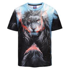 5713b55982 Summer Cool 3D Lion Printed O-neck Short Sleeve Casual T Shirt for Men