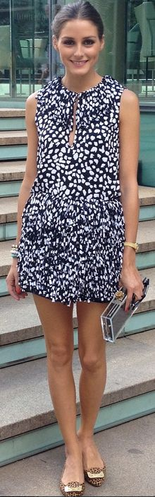 Who made Olivia Palermo's black and white dress and clutch handbag? | OutfitID. Dvf.