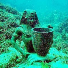 one of the sunken treasures of Queen Cleopatra  Mediterranean ports of Alexandria #egypt