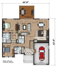 This lovely Bungalow style home with Cottage influences (House Plan has 1351 square feet of living space. The 1 story floor plan includes 2 bedrooms. Guest House Plans, House Plans One Story, Family House Plans, Small House Plans, Bungalow Floor Plans, House Floor Plans, Home Building Design, House Design, Small Bungalow