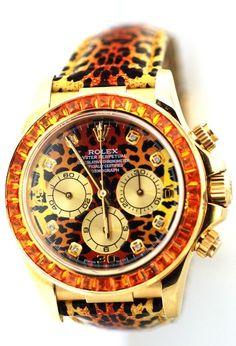 Rolex Mens Leopard Daytona Watch, 16518  Model, Yellow Gold, With Diamond Dial #Rolex