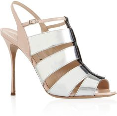 Nicholas Kirkwood Leather and Metallic Leather Sandals in Silver