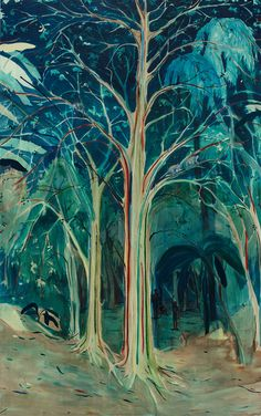 TREES IN ART • L'ARBRE DANS L'ART | Jules de Balincourt (Fr. 1972- ), Hidden Men and...
