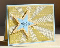 For the starburst hycct challenge, using this week's color challenge (starfruit, so saffron, soft sky with texture--on the star). Handmade Birthday Cards, Greeting Cards Handmade, Cool Cards, Cards Diy, Patchwork Cards, Washi Tape Cards, Star Cards, Card Maker, Card Tags