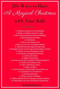 Check out these 20+ activities for Christmas fun with your kids! | The Ultimate Guide for a Magical Christmas with Your Kids | Momsanity via @momsanitypins