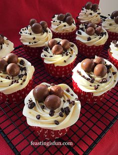 Maltesers Popping Candy Cupcakes light vanilla buttercream frosted cupcakes topped with Maltesers and chocolate coated Popping Candy a flavour explosion! Cake Filling Recipes, Brownie Recipes, Cupcake Recipes, Chocolate Recipes, Dessert Recipes, Pie Recipes, Fun Desserts, Sweet Recipes, Baking Cupcakes