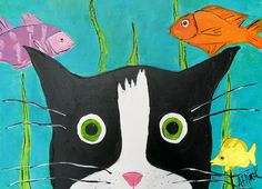 Tuxedo Cat Art  Kissed by a Fish Silent Mylo by SilentMyloStudio, $18.00