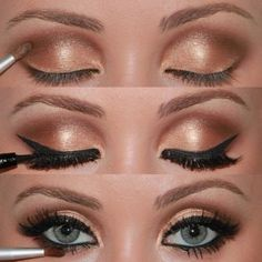 Beautiful gold shimmer eyes with thick black eyeliner
