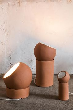 Maison & Objet our favorite lamps: Terracotta lamps, Lauren Van Driessche (Serax) Luminaire Design, Lamp Design, Outdoor Light Fixtures, Outdoor Lighting, Terracotta, Diy Lampe, Blue Table Lamp, Rustic Lamps, Industrial Lighting
