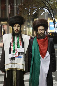 Rabbi's Against Zionism, these guys are so awesome they walked to Williamsburg like this ! wearing this they went back to Williamsburg walking, so please allow the MashAllah's !