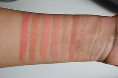 Swatches L-R: (All MAC) Jazzed, Pleasureseeker, Sweet & Sour, Fleur d' Coral, Altered Beige, Marquise D', Creme d' Nude