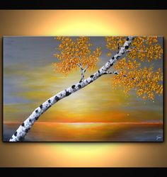 Original abstract textured birch tree painting on stretched cotton gallery wrapped canvas. The background of this stunning abstract sunset artwork is a