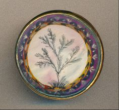 18th C. Painting on Ivory Under Glass button