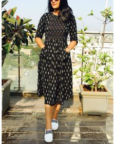 Black and white hand woven ikat dress is part of Kalamkari dresses - Featuring a simple and elegant black and white hand woven ikat dress with two pockets Salwar Designs, Simple Kurti Designs, Kurta Designs Women, Kurti Designs Party Wear, Blouse Designs, Kalamkari Dresses, Ikkat Dresses, Frock Design, Frock Fashion