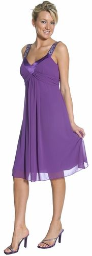 This elegant tank strap formal bridesmaid dress is knee length and is accented with silver beaded stones and pleated in the front. $76.99 #bridesmaid_dress #short_purple_dress