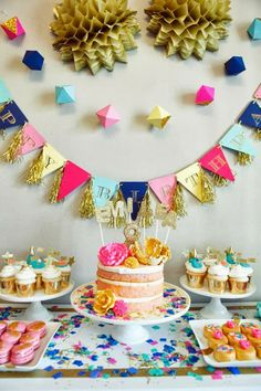 Glitz and Glamour Party by Oh Goodie Designs - love the dessert table and the pendant garland