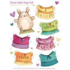 FREE printable Easter Bunny paper dolls created by illustrator, Jennifer A. Bell. SO CUTE!