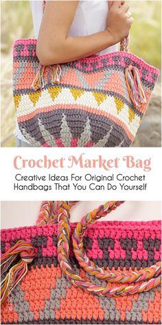 Creative Ideas For Original Crochet Handbags That You Can Do Yourself - Croche ., Creative Ideas For Original Crochet Handbags That You Can Do Yourself - Crochet Bag Patterns Crochet Market Bag, Crochet Tote, Crochet Handbags, Crochet Purses, Easy Crochet, Knit Crochet, Free Crochet Bag, Crochet Baskets, Crochet Cushions