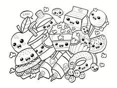 Coloriage Gourmandise Kawaii.Coloriage Emoji Fast Food Adorable A Imprimer Kolorowanki Dla