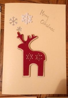 Kartka świąteczna - Filcowy renifer