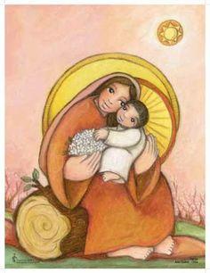 VIRGEN CON EL NIÑO en rosa Orthodox Catholic, Catholic Art, Mother Art, Mother And Child, Religious Images, Religious Art, Pictures Of Mary, Saint Esprit, Queen Of Heaven
