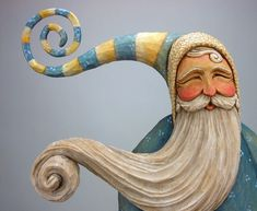 Unique wood carvings, hand carved Santas, and custom carved walking sticks by Shawn Cipa Christmas Wood, Vintage Christmas, Wood Carving Art, Wood Carvings, Gourd Art, Wood Sculpture, Ceramic Sculptures, Painting On Wood, Wood Projects
