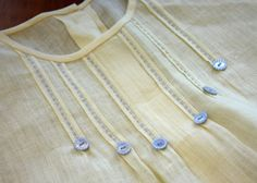 How about double tucks to add detail to a plain bubble or dress front? My article for making the tucks appeared in Sew Beautiful Ma. Neck Designs For Suits, Dress Neck Designs, Designs For Dresses, Sewing Hacks, Sewing Tutorials, Sewing Crafts, Sewing Patterns, Skirt Patterns, Dress Tutorials
