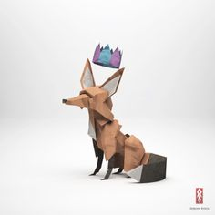 Some more origami today with the incredible work of Jeremy Kool from Melbourne, Australia. His origami characters are actually not made of paper but digitally using Art And Illustration, Illustrations, Fox Character, Character Design, Origami Paloma, Origami 3d, Paper Animals, Fox Art, Creature Design