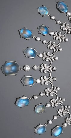 A moonstone and diamond necklace of fringe design estimated total moonstone weight carats estimated total diamond weight carats Moonstone Jewelry, Gems Jewelry, Jewelry Accessories, Fine Jewelry, Jewelry Design, Jewlery, Antique Jewelry, Vintage Jewelry, Ring Verlobung