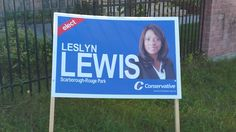 Old Kingston Rd/ Old Military Trail:  This sign is excellent in reaching potential voters.  Colour for their party, Easy to read name (big sign), and a photo of the actual candidate (familiarity).  Easy to see place for traffic too. #elxn42