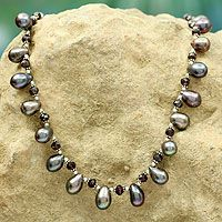 Pearl and Garnet Necklace - Novica.com - $134.95, sign up for email alerts on sales and discounts.