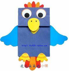 bolsa de papel de títeres en edad preescolar juguetes educativos tianjin hechos a mano Paper Bag Crafts, Paper Crafts For Kids, Crafts For Kids To Make, Craft Activities For Kids, Preschool Crafts, Art For Kids, New Year's Crafts, Bird Crafts, Cute Crafts