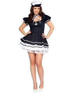 Sexy Sailor Sweetie Adult Plus | Wholesale Military Halloween Costumes for Sexy