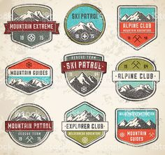 Mountain color Vector insignias royalty-free mountain color vector insignias stock vector art & more images of retro style