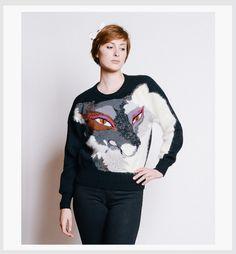 KRIZIA Vintage 1980s Fox Metallic and Angora Sweater